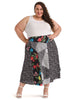 Mixed Print A-Line Skirt