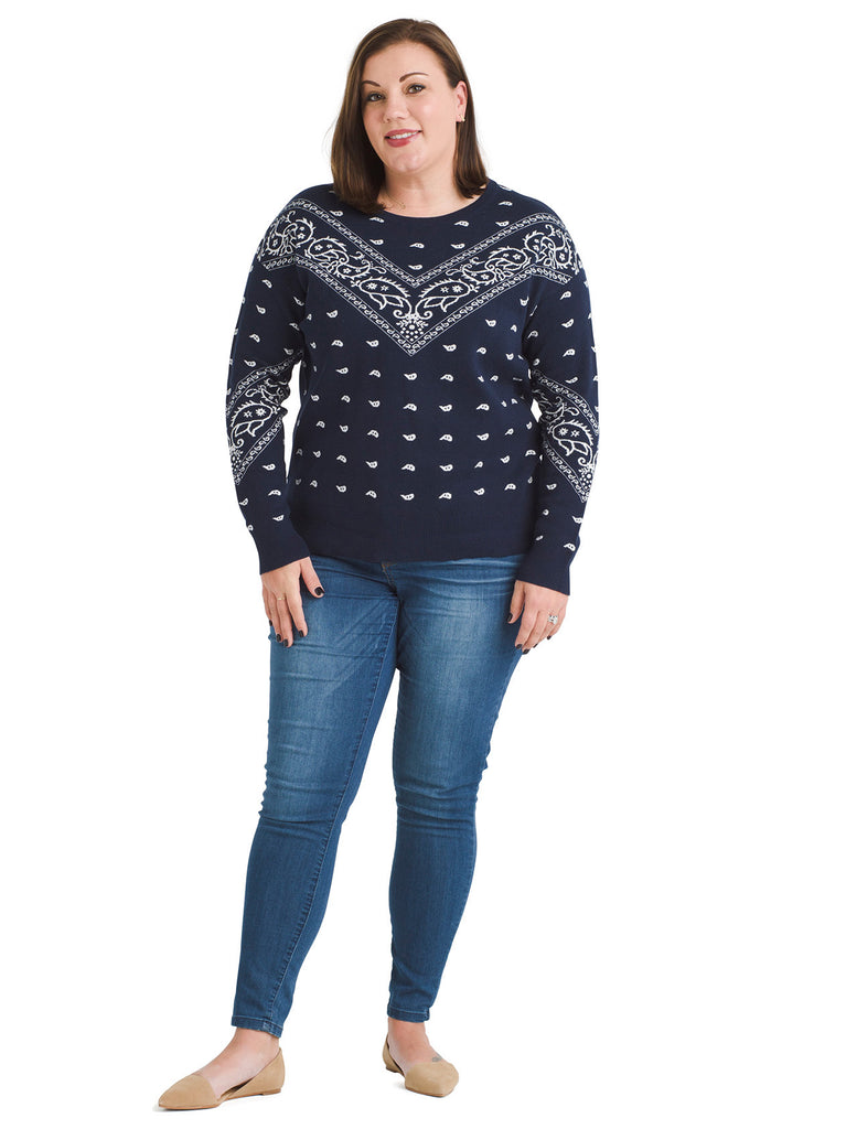 Bandana Print Navy Tunic Sweater