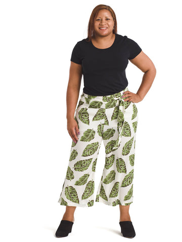 Palm Print Gaucho Pants