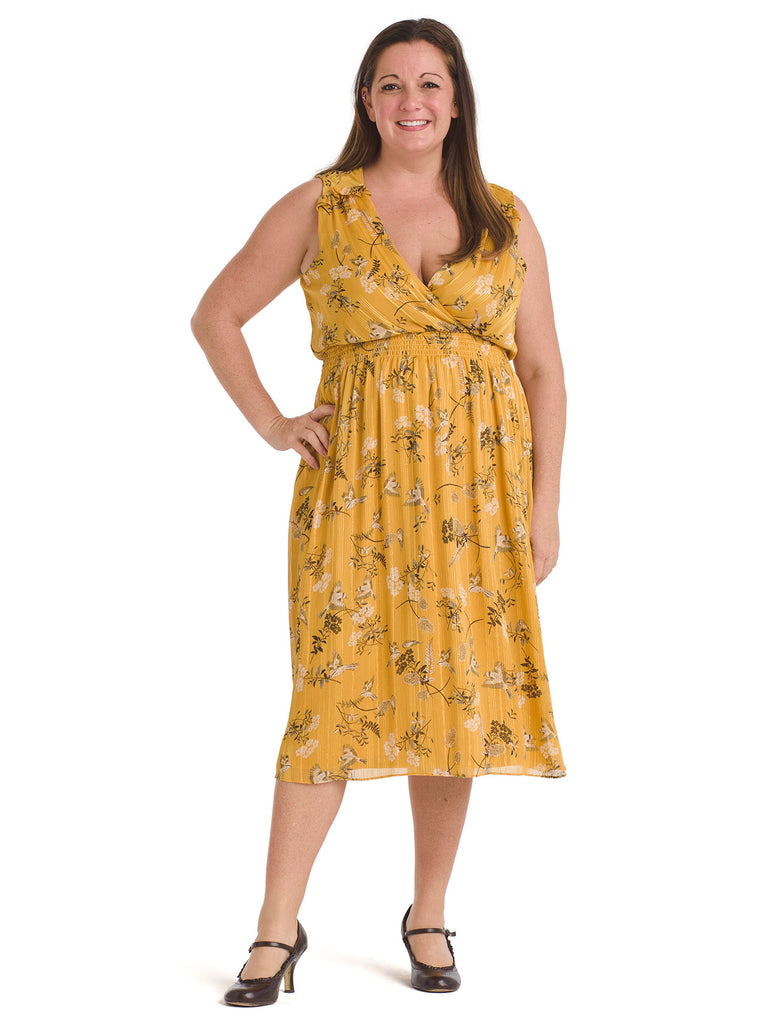 Golden Floral Smocked Waist Midi Dress