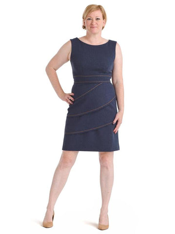 Tiered Faux Denim Sheath Dress