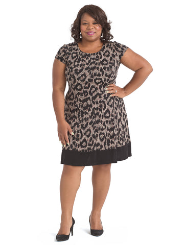 Leopard Print Jersey Fit And Flare Dress