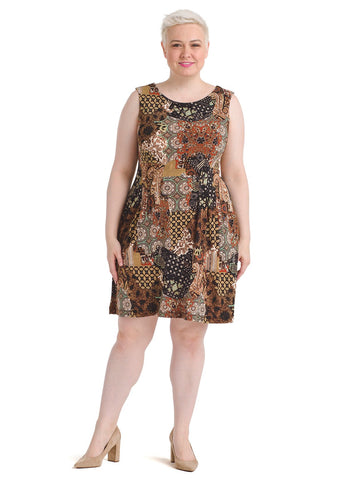 Mixed Print Patchwork Jersey Dress