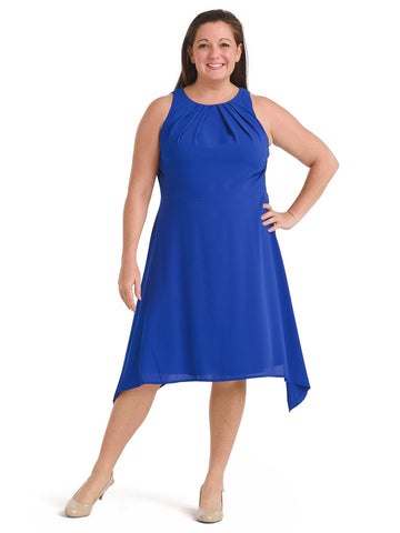 Royal Blue Tuck Neck Sharkbite Hem Dress