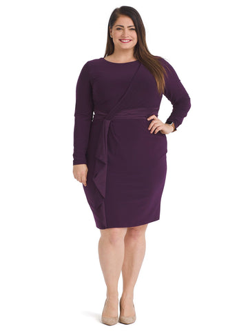 Raisin Matte Jersey Satin Trim  Dress