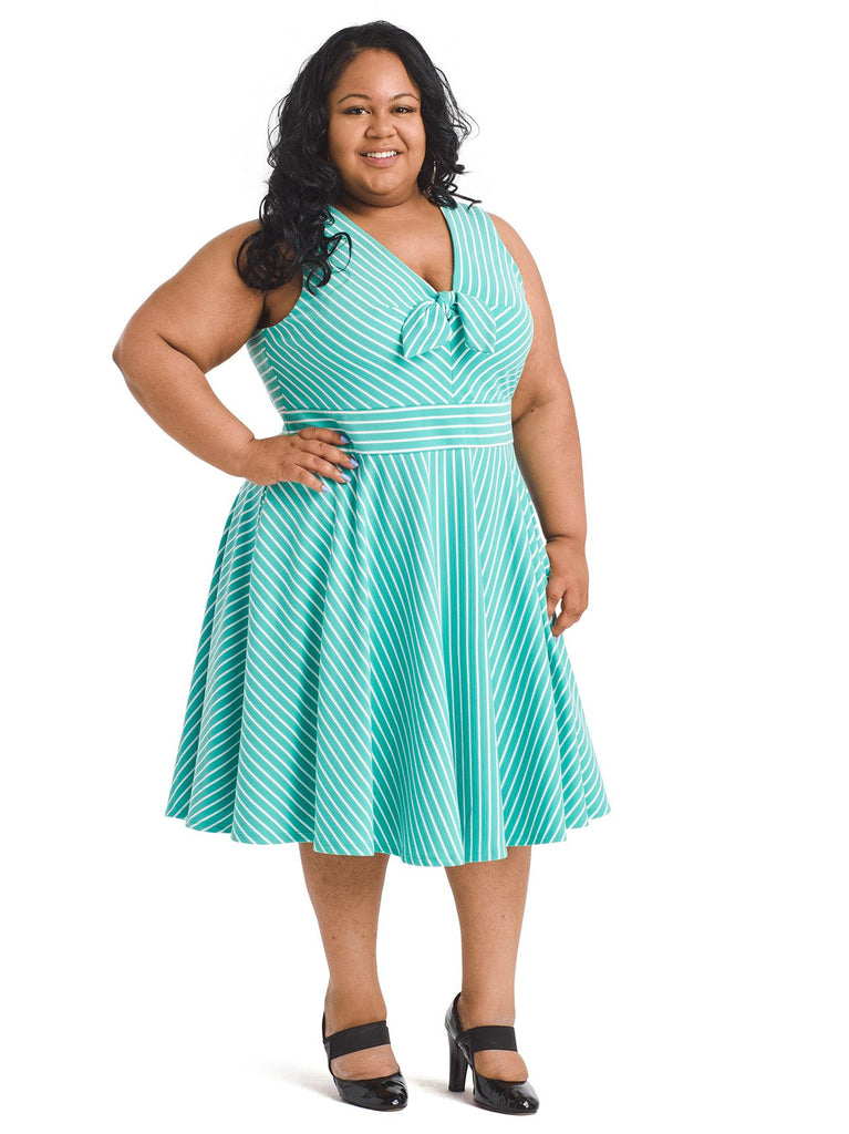 Turquoise Stripe Fit And Flare Dress