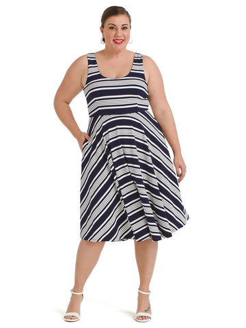 Back Tie Nautical Stripe Fit And Flare Dress