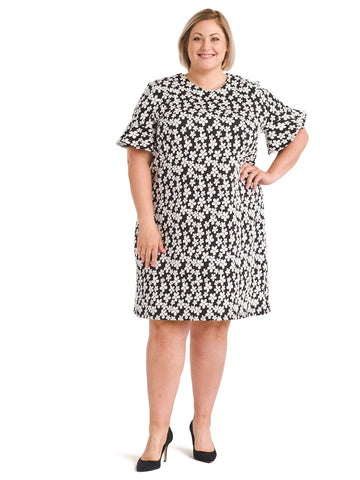 Jacquard Knit Black Daisy Shift Dress