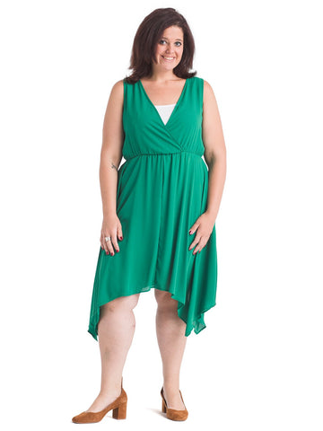 Handkerchief Hem Green Fit And Flare Dress