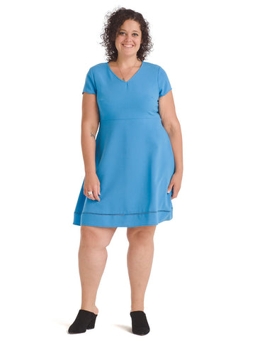 V-Neck Blue Fit And Flare Dress