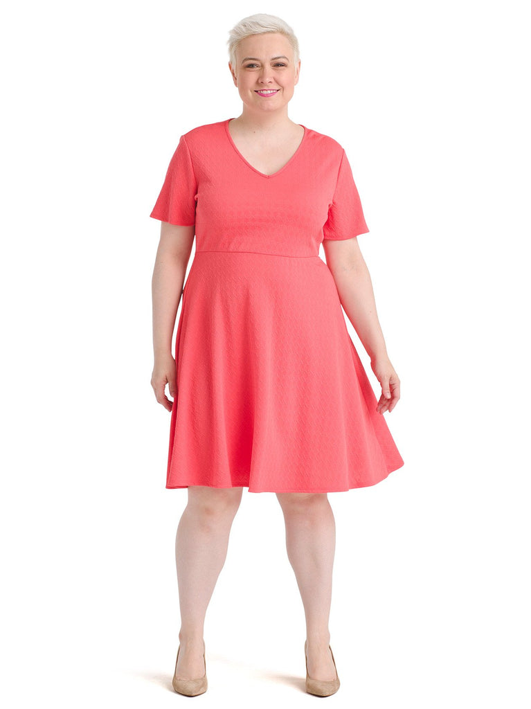 Short Sleeve Coral Fit And Flare Dress