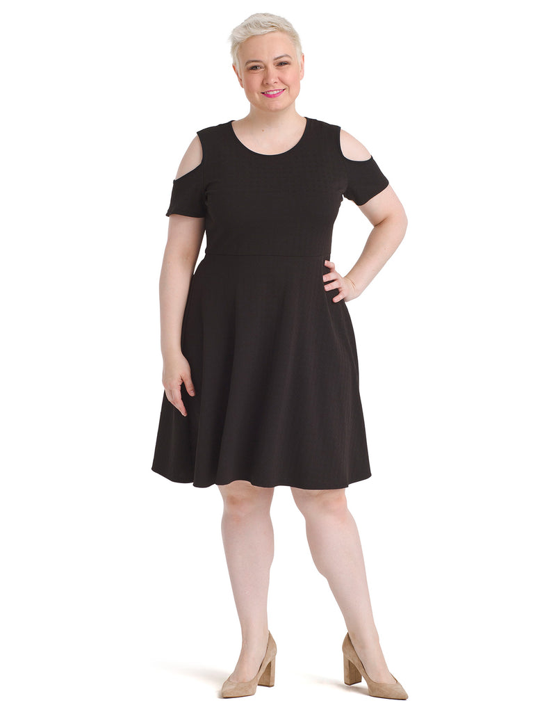 Cold Shoulder Black Fit And Flare Dress