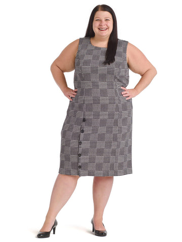 Houndstooth Check Sheath Dress