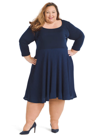 Pleated Navy Fit And Flare Dress