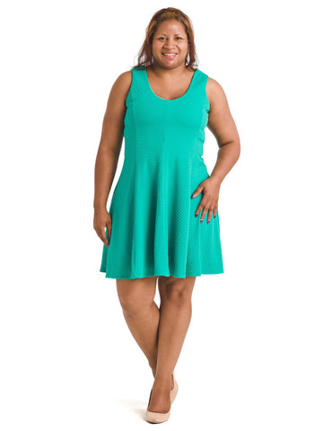 Textured Teal Fit And Flare Dress