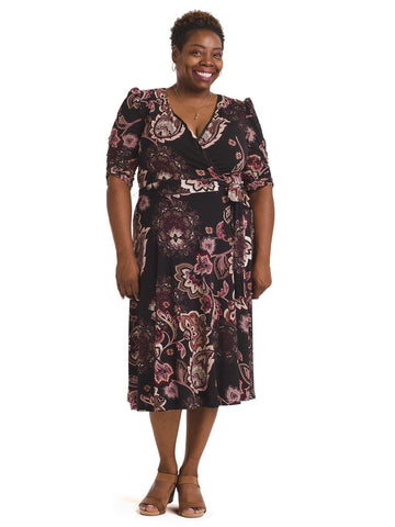 Dark Floral Jersey Faux Wrap Midi Dress