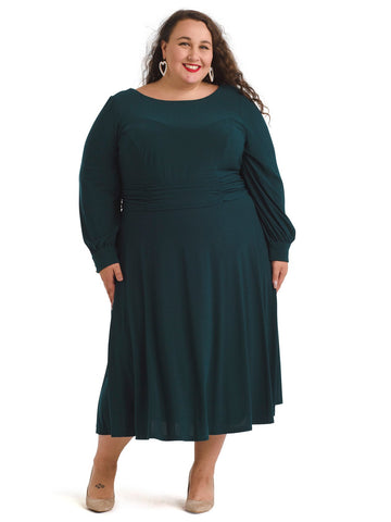 Ruched Waist Green Midi Dress