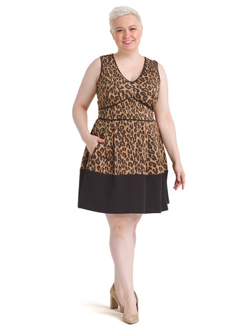 Black Bordered Cheetah Print Fit and Flare Dress