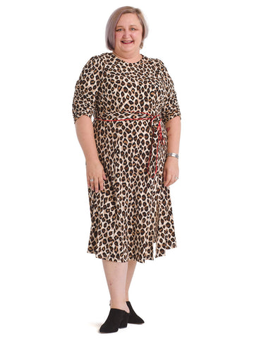 Leopard Puff Sleeve Midi Dress