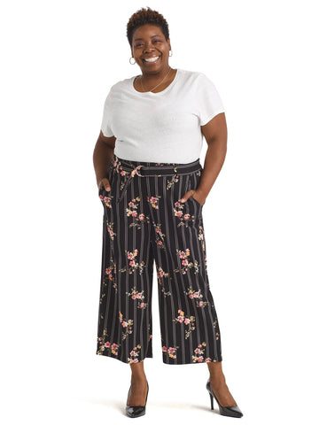 Floral Wide-Leg Pull-On Crop Pants