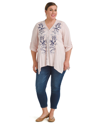 Hanky Hem Embroidered Blush Top