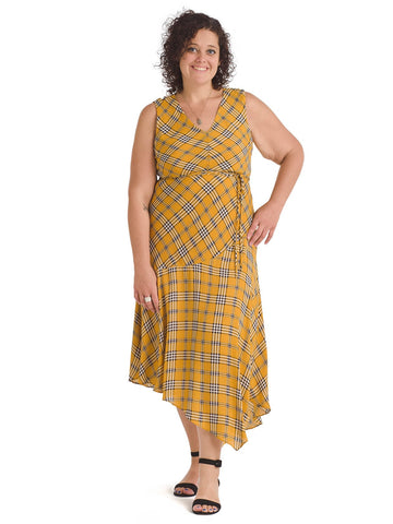 Honey Highland Plaid Belted Midi Dress