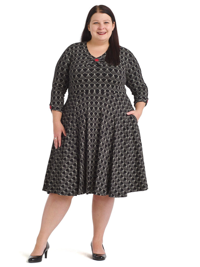 V-Neck Speakeasy Print Fit And Flare Dress