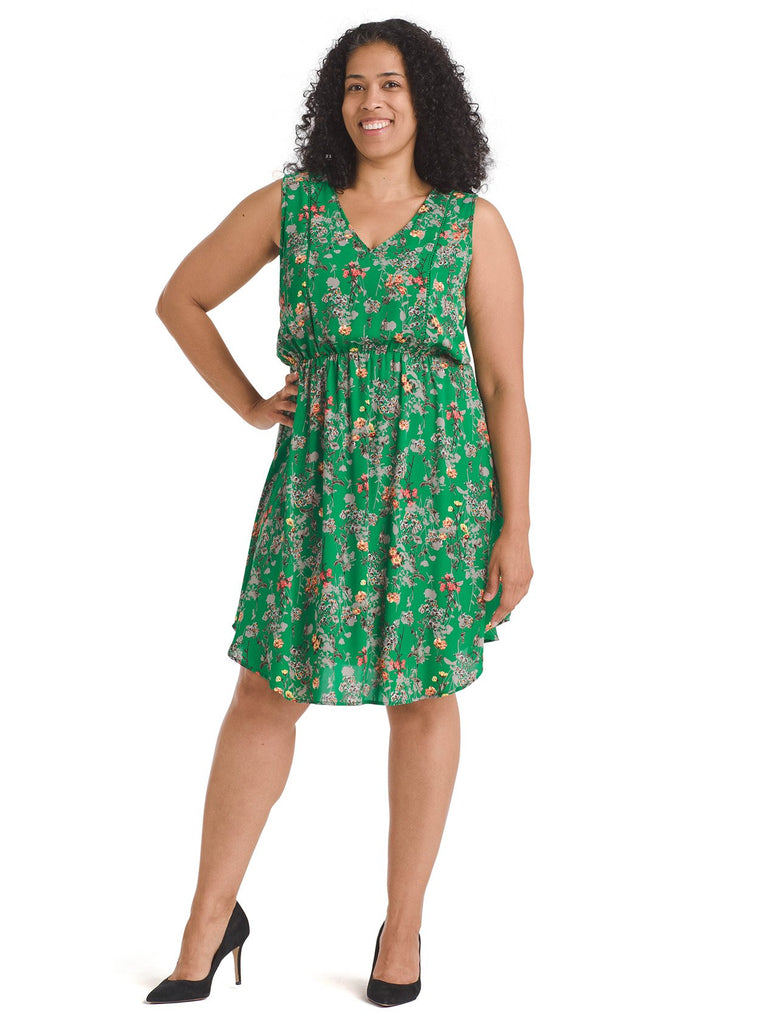 Floral Green Fit And Flare Dress