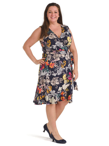 Floral Navy Wrap Dress