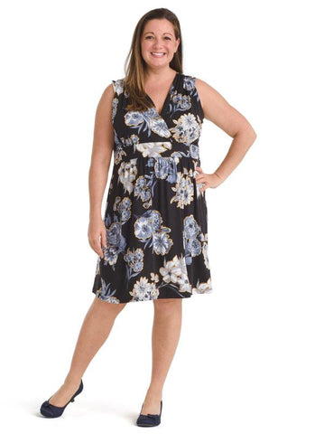 Floral Black Fit And Flare Dress