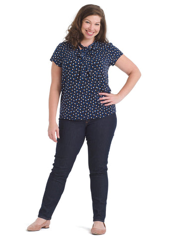 Twilight Dot Tie Neck Heidi Blouse