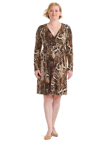 Snakeskin Faux Wrap Dress