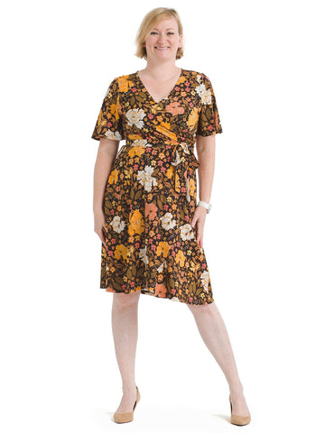 Vintage Floral Faux Wrap Jersey Dress