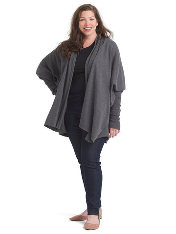 Gray Oversized Rib Cardigan