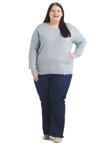 Zip Front Light Blue Sweater