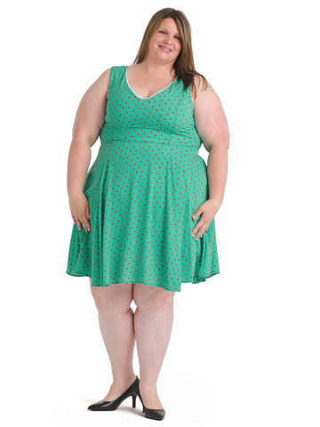 Cherry Print Polka Dot Green Fit And Flare Dress