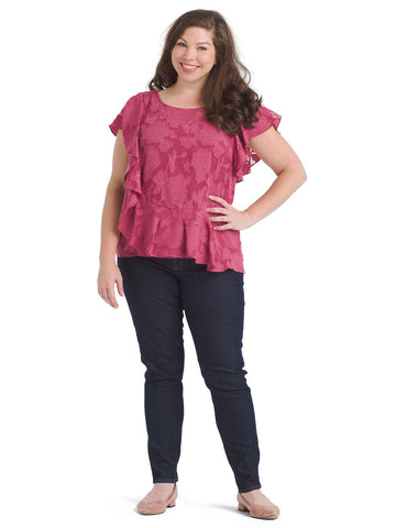 Floral Burnout Ruffled Top