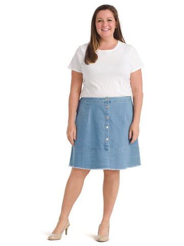 Snap Front Denim Skirt