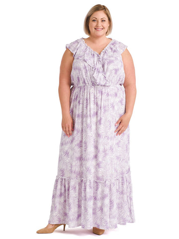 Ruffle Trim Lavender And White Print Maxi Dress