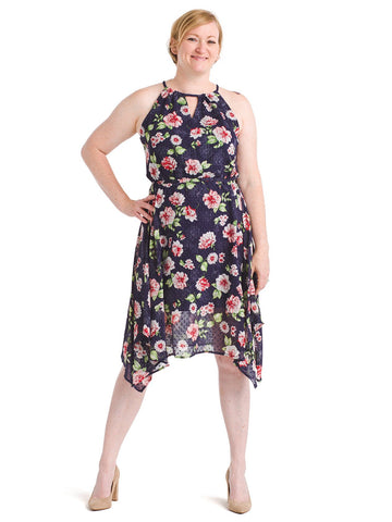 Keyhole Front Floral Navy Fit And Flare Dress