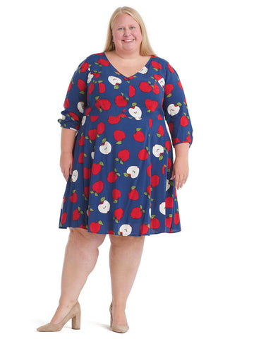 Apple Print Button Dress