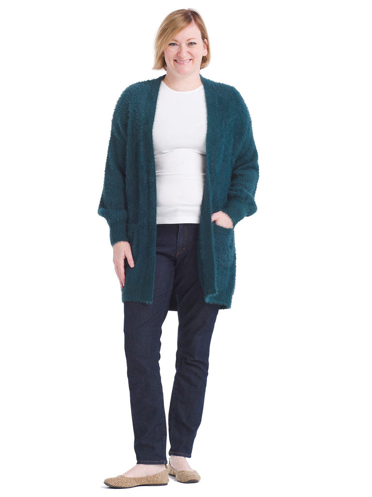 Fuzzy Balloon Sleeve Cardigan