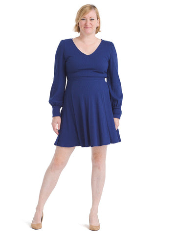 Bishop Sleeve Blue Knit Dress