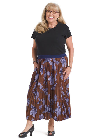 Brown Floral Pleated Skirt