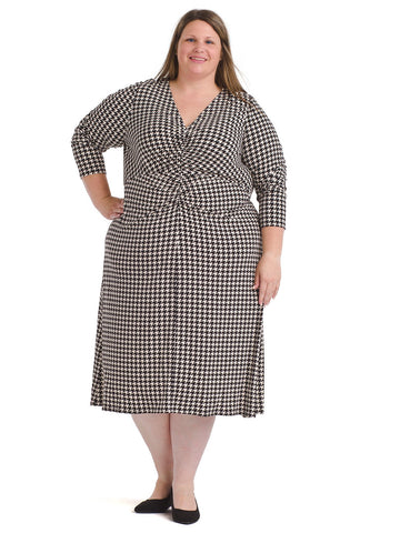 Houndstooth Shirred Bodice Midi Dress