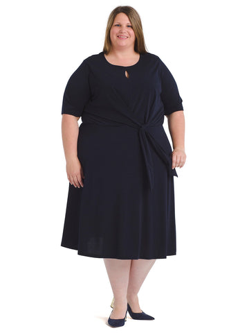 Dark Navy Knotted Fit And Flare Midi Dress
