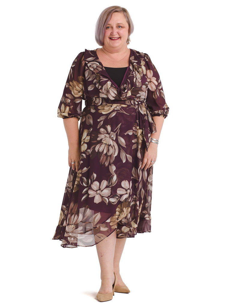 Plum Floral Ruffle Chiffon Faux Wrap Dress