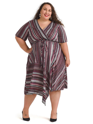 Multi Striped Elbow Sleeve Faux Wrap Dress