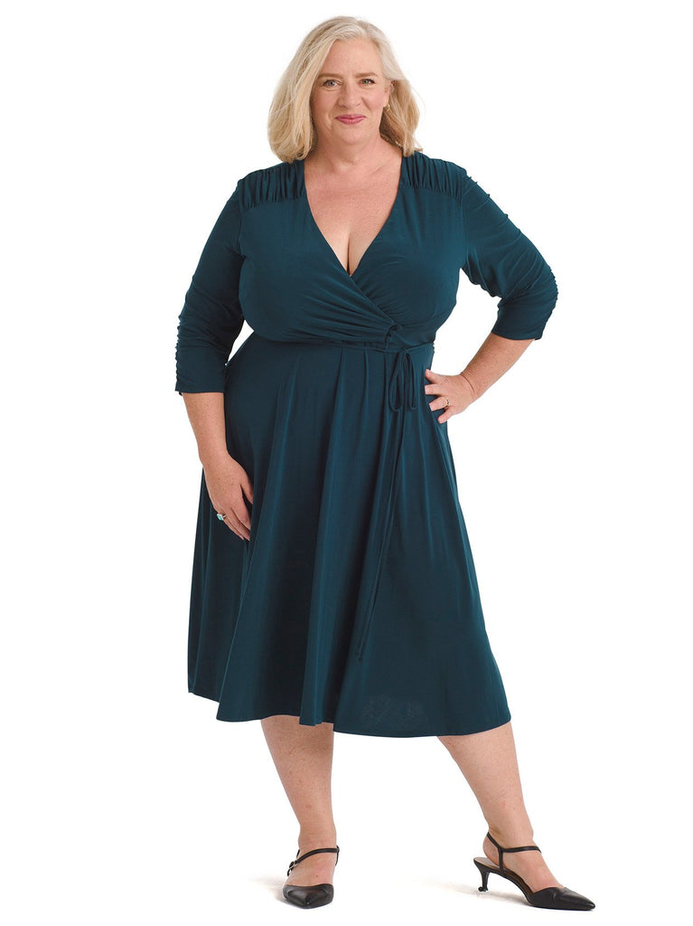 Hunter Green Button Detail Faux Wrap Dress