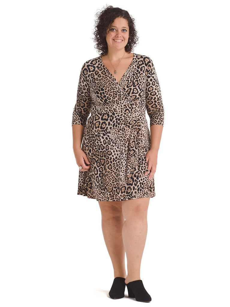 Leopard Print Knit Faux Wrap Dress